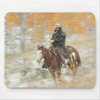 Horseback rider in rain mousepad