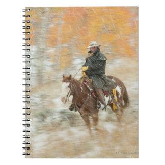 Horseback rider in rain spiral note book
