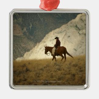 Horseback rider metal ornament