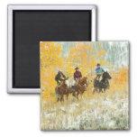 Horseback riders 7 2 inch square magnet
