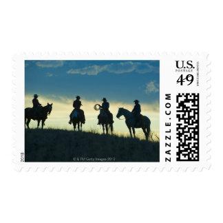 Horseback riders 8 stamps