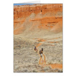 Horseback riders on trail greeting card