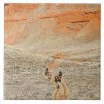 Horseback riders on trail large square tile