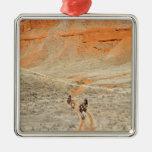 Horseback riders on trail square metal christmas ornament