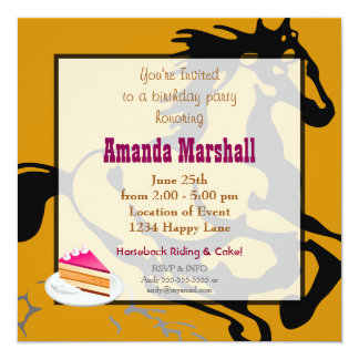 Horseback Riding and Cake Birthday Party Personalized Announcement Cards