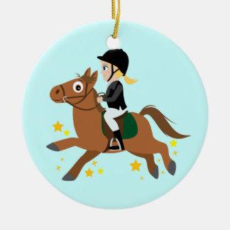 Horseback Riding Ceramic Ornament