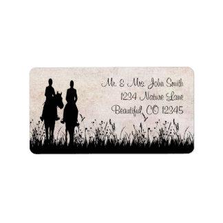Horseback Riding Couple Equestrian  Address Label