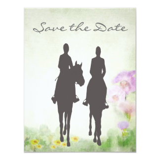 Horseback Riding Couple Wedding Save the Date Card