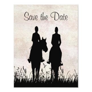 "Horseback Riding Equestrian Wedding Announcement 4.25"" X 5.5"" Invitation Card"