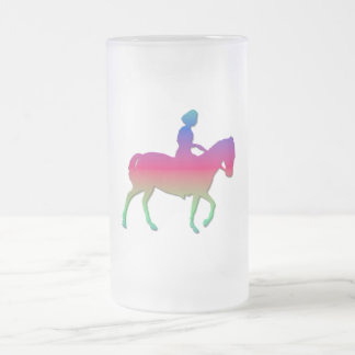 Horseback riding frosted glass beer mug