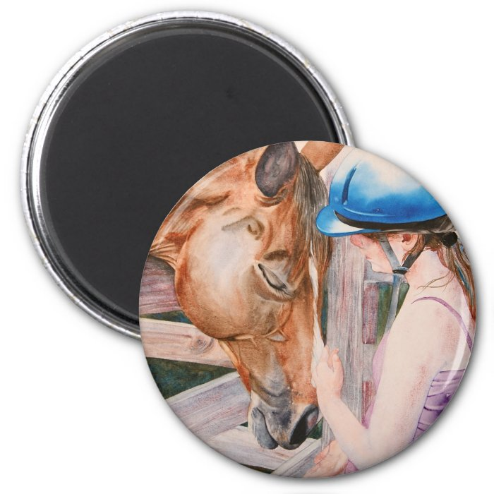 HorseBack Riding Girl and her Horse Animal Lover 2 Inch Round Magnet