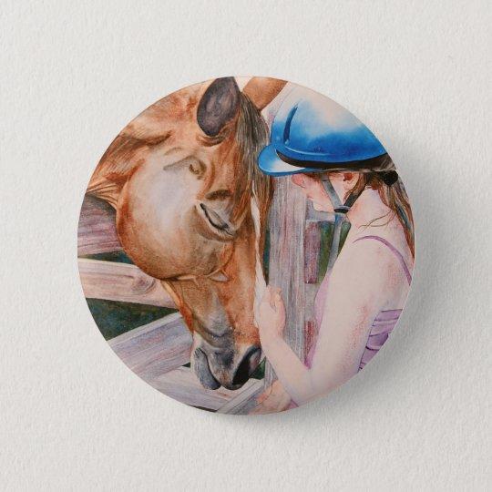 HorseBack Riding Girl and her Horse Animal Lover Button