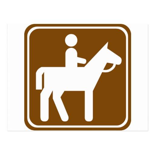 horseback riding highway sign postcard zazzle