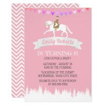 Horseback Riding Horse Party Pink Girl Birthday Invitation