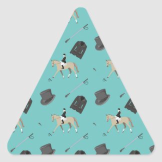 Horseback riding in a modern style triangle sticker