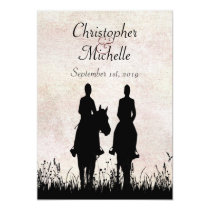 Horseback Riding Silhouette Couple Sunset Wedding Invitation