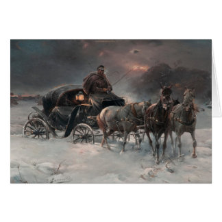 Horsedrawn Sleigh in the Night Greeting Card