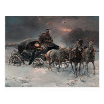 Horsedrawn Sleigh in the Night Postcard
