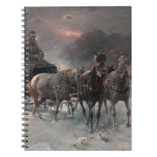 Horsedrawn Sleigh in the Night Spiral Notebook