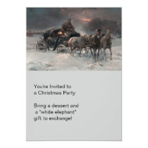 Horsedrawn Wagon at Night Card
