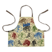 Horsehead emblems kids cooking crafts personalized apron