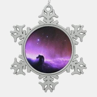 Horsehead Nebula colorful night sky scenery Snowflake Pewter Christmas Ornament
