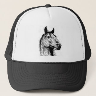 Horsehead pencil drawing trucker hat