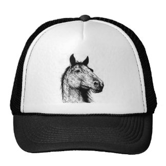Horsehead pencil drawing trucker hat