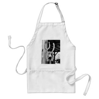 Horsehoes in Old Barn Adult Apron