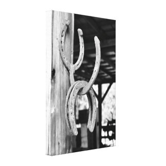 Horsehoes in Old Barn Canvas Print