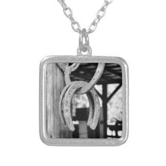 Horsehoes in Old Barn Personalized Necklace