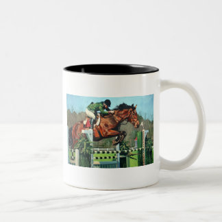 HorseJump highres Two-Tone Coffee Mug