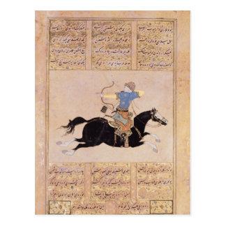 Horseman drawing his bow postcard
