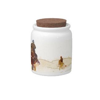 horseman in desert candy jar