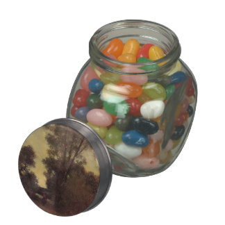 Horseman in the Forest by Camille Pissarro Glass Candy Jar