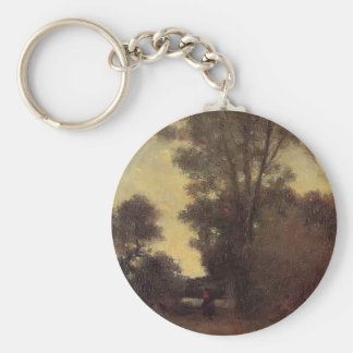 Horseman in the Forest by Camille Pissarro Keychain