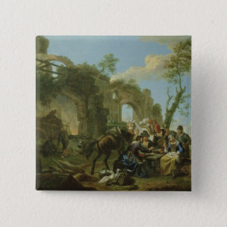 Horsemen Resting among Classical Ruins with a Fort Button