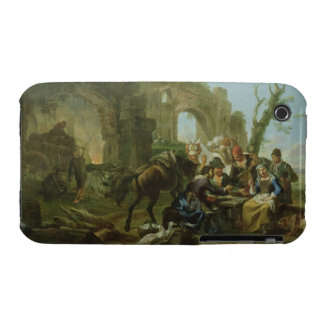 Horsemen Resting among Classical Ruins with a Fort iPhone 3 Case-Mate Case