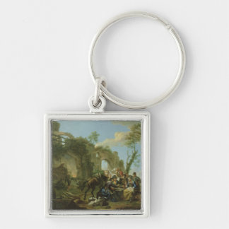 Horsemen Resting among Classical Ruins with a Fort Keychain
