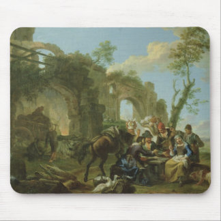 Horsemen Resting among Classical Ruins with a Fort Mouse Pad
