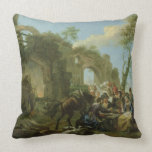 Horsemen Resting among Classical Ruins with a Fort Throw Pillows