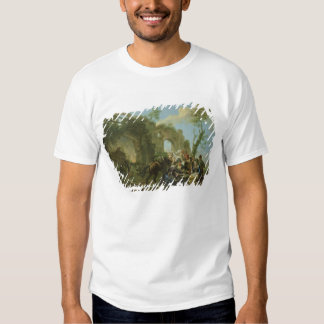 Horsemen Resting among Classical Ruins with a Fort T-Shirt