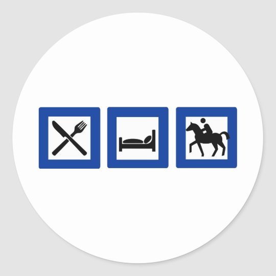 horseriding classic round sticker