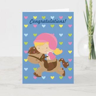 Horseriding Hearts Congratulations Card card
