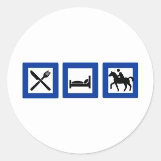 horseriding classic round sticker