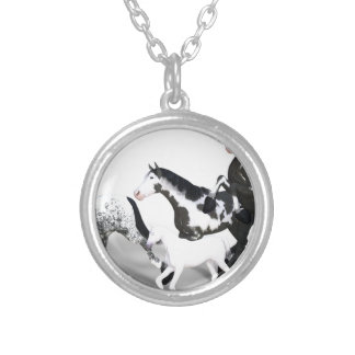 horses-1530858 silver plated necklace
