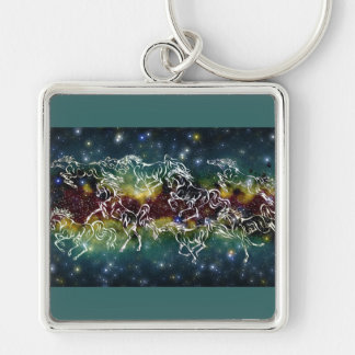 HORSES ACROSS THE MILKY WAY Silver-Colored SQUARE KEYCHAIN