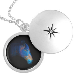 Horses - American Western Theme Round Locket Necklace