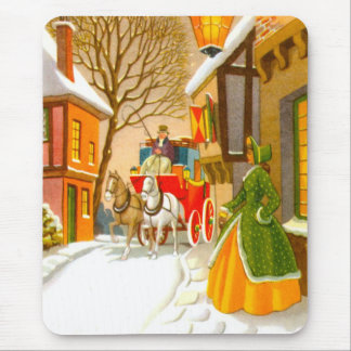 Horses and carriage in the snow mouse pad