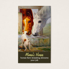 Horses And Dog Business Card at Zazzle